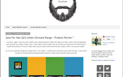 ZEOS For Men QU3 Urban Skincare Range – Product Review Bearded Couture