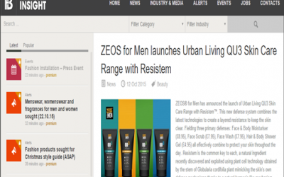 ZEOS for Men Launches Urban Living QU3 Skin Care Range With Resistem