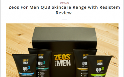 Zeos For Men QU3 Skincare Range with Resistem Review by Men's Boutique