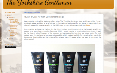 Review of Zeos for men QU3 skincare range by The Yorkshire Gentleman