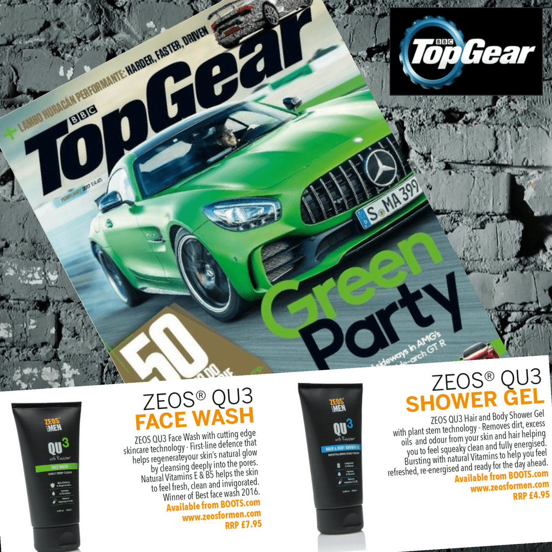 zeos qu3 face wash hair body shower gel feature in bbc top gear magazine zeos for men. Black Bedroom Furniture Sets. Home Design Ideas