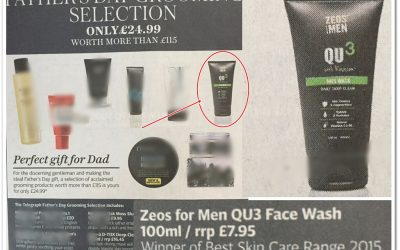 The ZEOS QU3 ??Face wash? features in The Sunday Telegraph