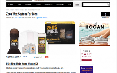 Zeos Waxing Kit featured in Fashion Beans