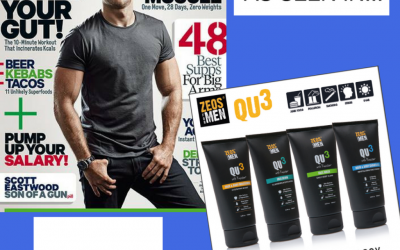 ZEOS QU3 Skincare features in Men's Health Magazine